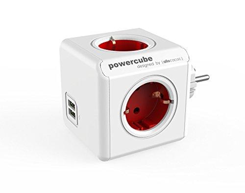 PowerCube allocacoc DuoUSB Original Rojo, Ladrón Multiple con 4 enchufes/Tomas de Corriente y 2 de USB en Forma de Cubo, con protección de sobretensiones
