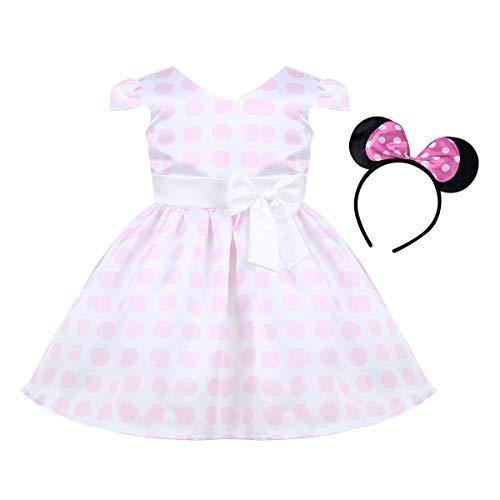 iiniim Baby Mädchen Kleid Prinzessin Kleid Polka Dots Mini Kleid mit Maus Ohren Cosplay Fasching Karneval Kostüm Festlich Partykleid Gr.80-116 Rosa 92-98/2-3 Jahre (Mädchen Mini Kleid Kostüm)