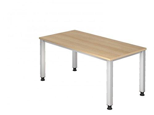 DR-Büro Schreibtisch 160 x 80 cm - stufenlos höhenverstellbar 68-83 cm - Bürotisch in 7 Farben - Gestell Silber, Farbe Büromöbel:Eiche