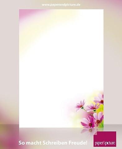 Blumen Briefpapier-Set Sommerblumen, 40-teilig mit 20 Blatt Motivpapier DIN A4, 90g/qm und 20 passenden DIN LANG-Briefumschlägen. Tolles Schreib-Set für private und geschäftliche Briefe, Einladungen, Speisekarten, Werbe-Flyer, kleine Plakate. - Invito Stampato Carta