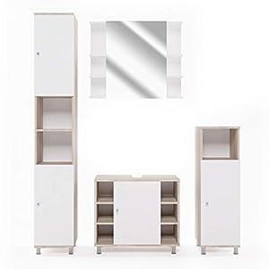 Vicco Badmöbel Set Badezimmermöbel Fynn Spiegel + Unterschrank + Midischrank + Hochschrank (Set 4, Eiche Sonoma)