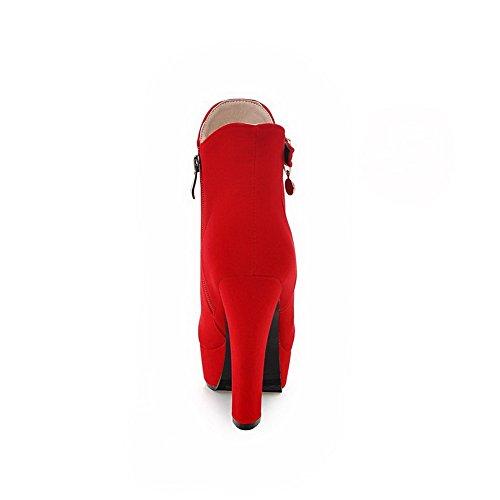 Vermelho Decoração Puro Allhqfashion Mulheres Toe Botas Alto Metal Rodada Salto Zip vwSnB7qW
