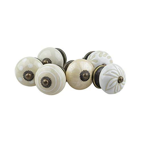 Möbelknopf Möbelknauf Möbelgriff 6er Set 072GN 72-A Antik Perforiert Kreise Punkte Weiß Creme Beige - Jay Knopf Keramik Porzellan handbemalte Vintage Möbelknöpfe für Schrank, Schublade, Kommode, Tür -