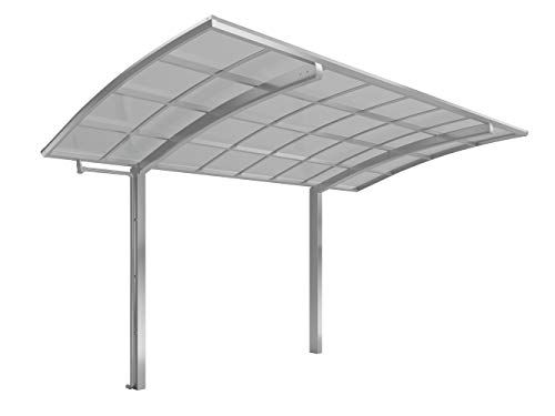 XIMAX Aluminium Design-Carport Portoforte Standard-Ausführung Typ 80 Edelstahl-Look