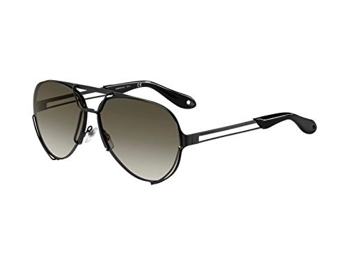 Givenchy - GV 7014/S, Aviator, metallo, uomo, MATTE BLACK/BROWN SHADED(003/ND), 65/11/145