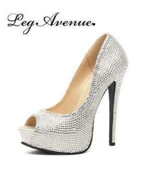 Leg Avenue 5035 - Glamour 5.5 Zoll Satin Strass Besetztem Schuhe, Größe 9, silber (Avenue Satin Kostüme)