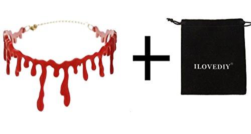 ILOVEDIY Blutstropfen Kette Blut Halskette rot Blutige Kette Horror Halsband für Halloween Kostüm