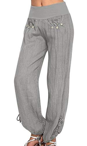 Shujin Damen Sommer Leinen Pumphose Lang Elegant Pumphose Baggy Harem Stil Casual Yogahose Weiche Langehose Pilates Hosen, Grau, EU 38/Etikettengröße L