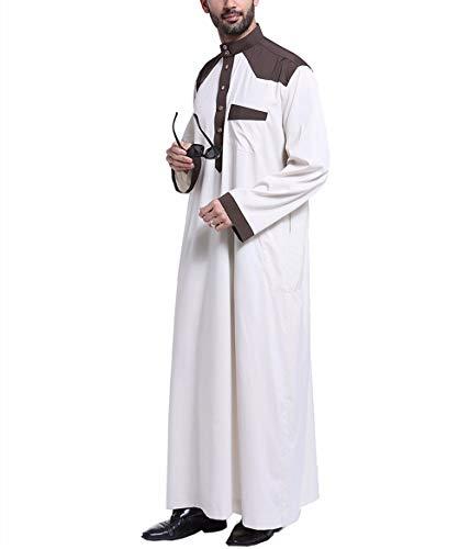 Swallowuk Herren Muslim Mittlerer Osten Saudi Stickerei Robe Islamisch Arabisch Kaftan Lange Ärmel Pakistan Kandoura Volle Länge Traditionell Ethnische Kleidung (3XL, Beige) -