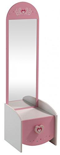 Jugendmöbel24.de Frisierkommode B 43 cm H 150 T 39 Schminktisch Frisiertisch Schminkspiegel Make up Spiegel Kosmetiktisch Kosmetik Set Mädchen Kinderzimmer -