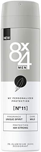 8X4 Men Deo Spray N°11 Unique Spirit im 1er Pack, 1 x 150ml, Deodorant mit anregend-aromatischem Duft, 48h zuverlässiges Deo ohne Aluminium für jeden Hauttyp