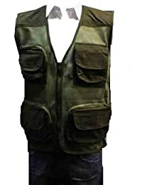 Adults Multipocket Shooting Hunting Mesh Fishing Vest Gilet (XXXL, Green)