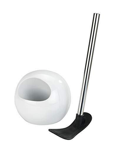 Wenko 23344100 WC-Garnitur Rimless - WC-Bürstenhalter, Innovative Bürstenform aus Silikon, Keramik, 18 x 40 x 18 cm, Weiß