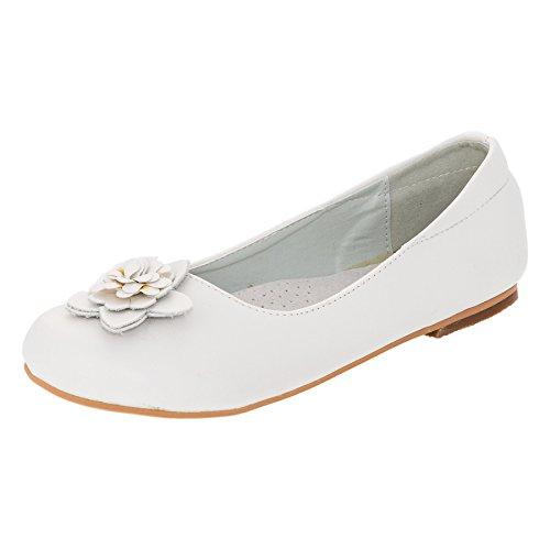 Buddy Dog Festliche Mädchen Ballerinas Leder-Innensohle Schuhe Zierblume in Vielen Farben M323ws Weiss 36 Mädchen Schuhe Leder
