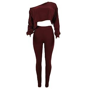 Yefree Weiblich Schulterfrei Slim Fit unregelmäßige Oberteile + Hose Sportswear Suit Langarm 2-teiliges Set