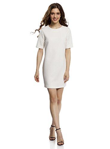 oodji Collection Mujer Vestido Recto de Tejido Texturizado, Blanco, ES 44 / XL
