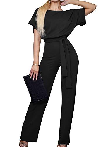 Woweal Jumpsuits Damen Kurze Ärmel Casual Playsuit Fashion Rundhals Overall Pants 3/4 Weite Bein Hosen Rompers (Black1, XXL) 3/4 Baggy Pants