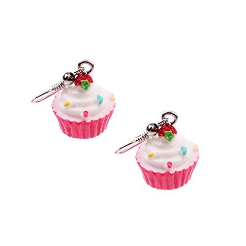 Snykk Cupcake-Ohrringe - 2 Stück – rot Erdbeer Sahne (Halloween Kostüme Erdbeer)