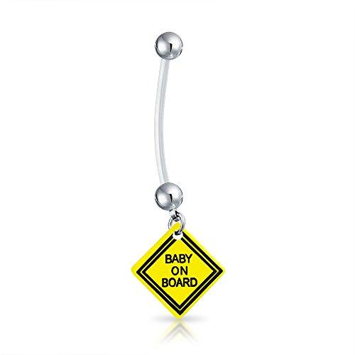 Bling Jewelry Bioflex Baby An Bord Zeichen Schwanger Bar Und Ball Stil Nabel Bauch Ring Aus Chirurgischer Stahl 14 G Für Frauen (Body Bar Flex)