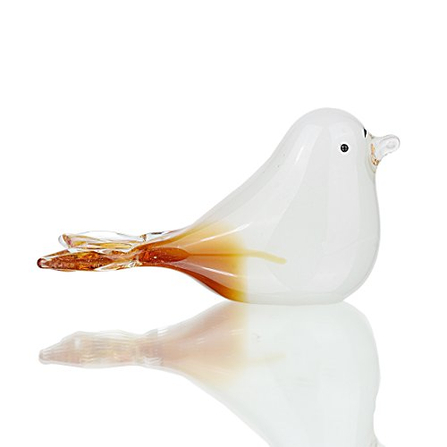 H&D White Bird Figurine- Handmade Art Glas Ornament von Tierfiguren Ornament–Hand geblasen Art Home Decor–Multicolor