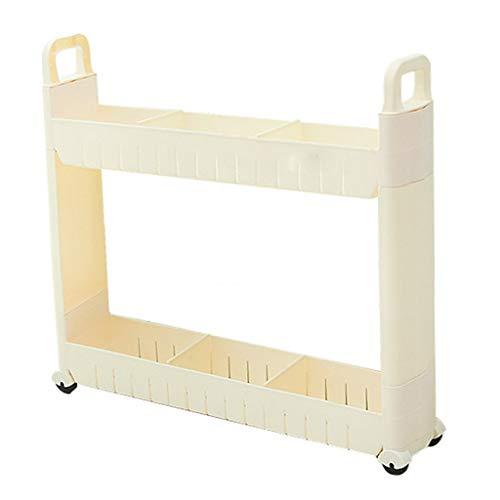 Küchenwagen QIQIDEDIAN Weiß 10cm Breite Lücke-Speicher-Gestell-Küchen-Fertigstellungs-Gestell-beweglicher Abstand