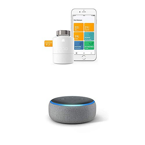 Echo Dot tessuto grigio scuro + Tado° Testa Termostatica Intelligente Kit di Base V3+ - Gestione intelligente del riscaldamento, compatibile con Amazon Alexa, Apple HomeKit, Assistente Google, IFTTT