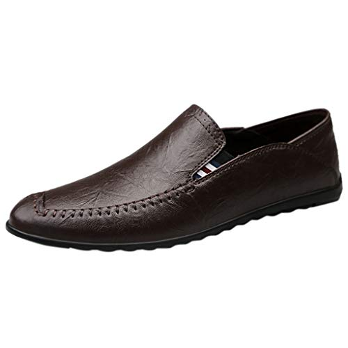 KonJin Leather Shoes for Men Casual Moccasins Slip-on Penny Loafer Flats Driving Boat Shoes Formal Business Dress Comfortable Walking Oxford (Penny Loafer Von Bass)