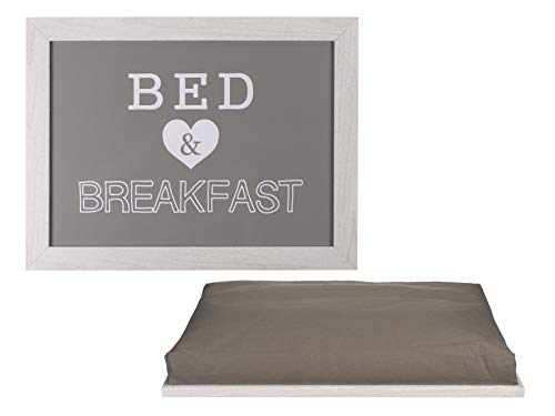 Weiße Frühstück Kissen (Haus und Deko Knietablett Kissen-Tablett Laptop Unterlage Lap Tray Schoßtisch Bed & Breakfast Landhaus Stil Grau Weiß 41x28 cm)