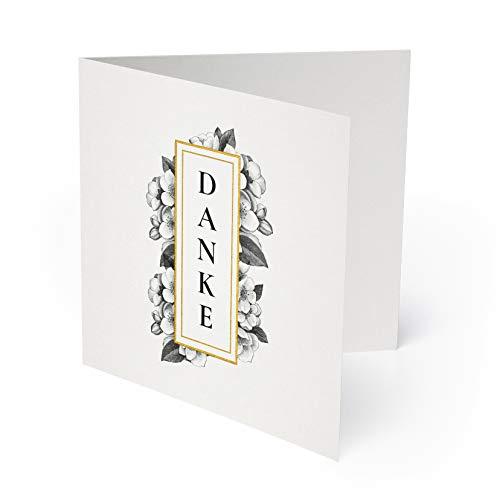 (10 x) Hochzeit Dankeskarten Danksagungskarten Danke Karten Dankeschön - Gold