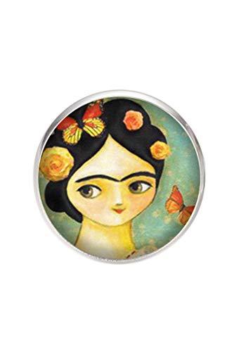 Broche de Acero, Diametro 25mm, pin 0,7mm, Hecho a Mano Ilustración Frida Mariposas