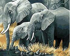 ZYCD Soporte Personalizado Elefantes Que pintan por números Animales Imagen de acrílico...