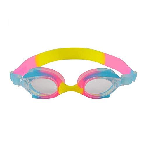Schwimmen Brille Verstellbar Wasserfest Tauchen für Kinder Schwimmen Brille Anti Nebel Kinder Surfen Sport Silikon Brillen UV Schutz Bunte (Gelb + Rot) - Gelb + Rot+Blau, free size