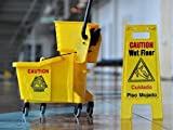PUFFIN Mini Mop Bucket Wringer Trolley 20 Ltr With Wet Floor (Yellow)