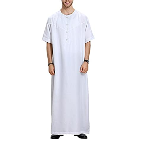Zhhlaixing Pour des hommes Musulman Thobe Mens/Boys Middle East Muslim Summer Solid Color Button Down Crew Neck Short Sleeve Thobe Robe Dishdasha