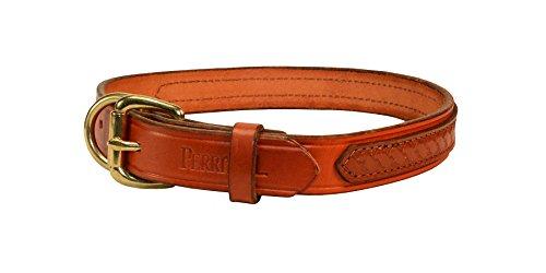 Perri 's/Marone/braun Leder Hundehalsband, Overlay, Kastanie mit Braun Overlay