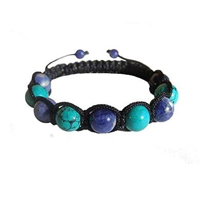 ZENstore Shamballa noué Bracelet Turquoise et Sodalite Sagesse Confiance Équilibre émotionnel Courage Yoga Chakra du coeur Chakra de la gorge Chakra du 3ème oeil