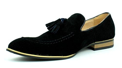 Herren Veloursleder Designer Schuhe Smart Kleid Ohne Bügel Troddel Formelle Slipper Freizeit Größe EU Schwarz