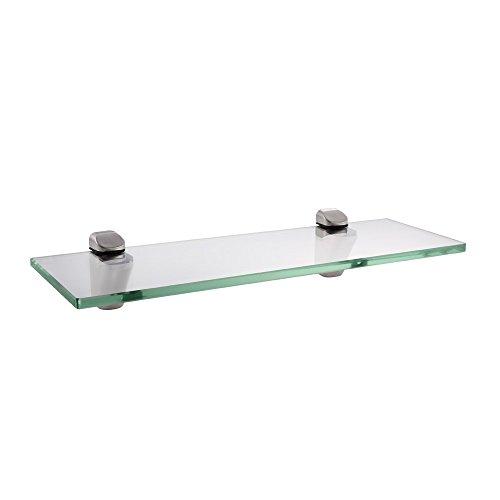 Kes mensola in vetro da bagno con fondo in vetro e asta vetro temperato 350 x 118 mm nichel spazzolato, bgs3202s35-2
