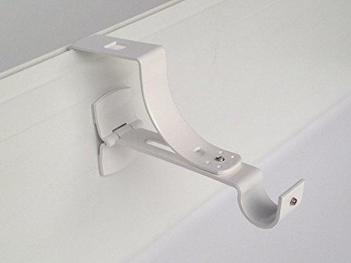 2 Supports sans Per/çage pour Tringle /à Rideaux Diametre 28mm Geko Brico Blanc Adaptateur Lat/éral pour Coffre de Volet Roulant sans Rainure