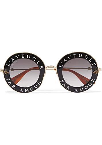 Gucci Damen GG0113S 001 Sonnenbrille, Schwarz (Black/Grey), 44