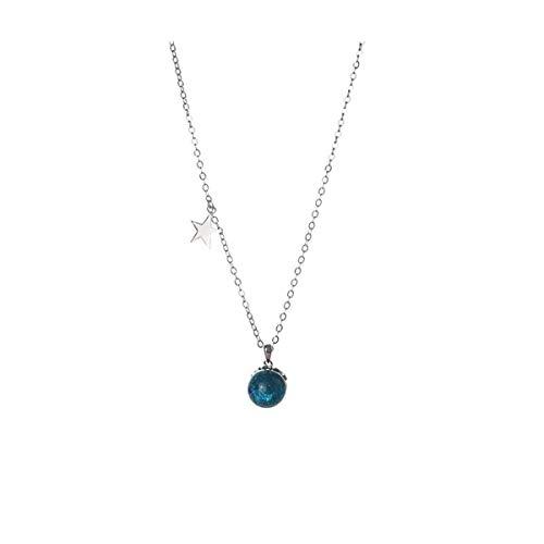 ll Magic Ball Halskette S925 Sterling Silber fünfzackigen Stern Schlüsselbein Kette Geschenk ()
