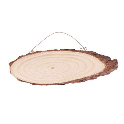 Topbathy - mensola ovale sospesa in legno, con 2 ganci e corda, per decorare la casa (22 x 7 cm)