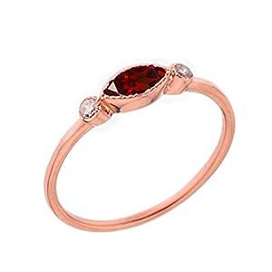 Kleine Schätze Damen Ring Echte Granat und Weiß Topas Ring in 10 Karat Rotgold