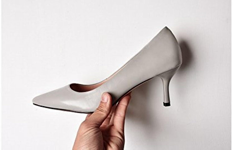 DIDIDD Zapatos de Punta, Verano con Zapatos de Verano Zapatos de Piel de Oveja Temperamento OL con Tacón Alto...