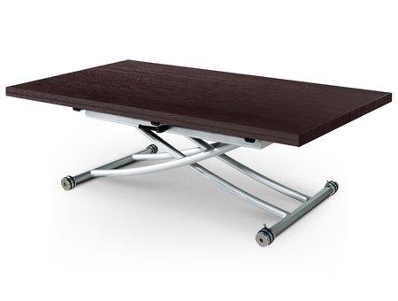Table basse relevable à plateau & allonge dépliable Clever XL - Boiserie Wengé