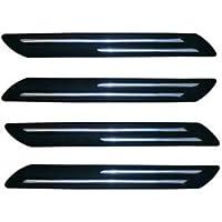 VRT® Rubber Car Bumper Protector Guard with Double Chrome Strip for Car 4Pcs - Black (Universal)