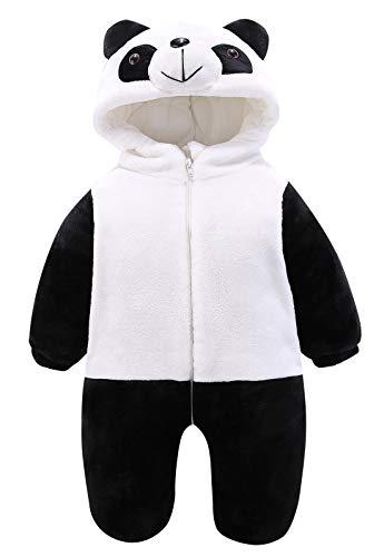 KRAFBEAN Animal Cosplay Panda Bébé pour Halloween Déguisement Carnaval Combi-pilote Fille Garçon Kigurumi Onesie Surpyjama de Nuit en Flanelle Chaud Grenouillère 6-12 mois