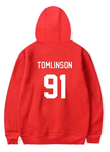 21be7f1e9 SIMYJOY Pareja Louis Tomlinson Fans Sudaderas con Capucha One Direction 1D  Pull-Over Cool Miss You Sudadera para Hombre Mujer Adolescente Rojo 2XS