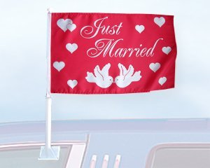 Autoflagge Just Married 27 x 45 cm