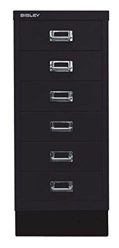 Bisley MultiDrawer, 29er Serie mit Sockel, DIN A4, 6 Schubladen, Metall, 633 Schwarz, 38 x 27.9 x 67 cm -
